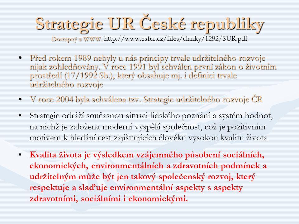 Strategie UR České republiky Dostupný z WWW. http://www. esfcr