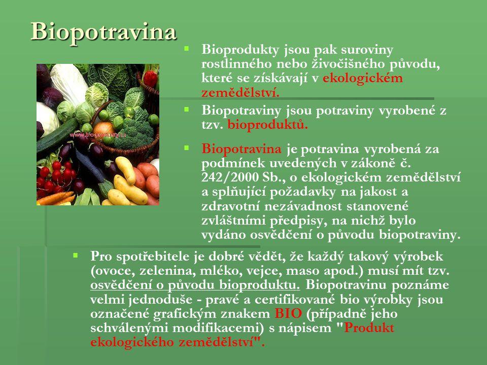 Biopotravina Bioprodukty jsou pak suroviny rostlinného nebo živočišného původu, které se získávají v ekologickém zemědělství.