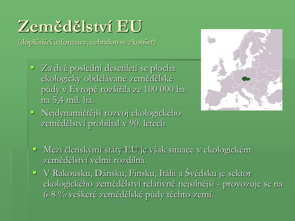 Zemědělství EU (doplňující informace, nebudou se zkoušet)