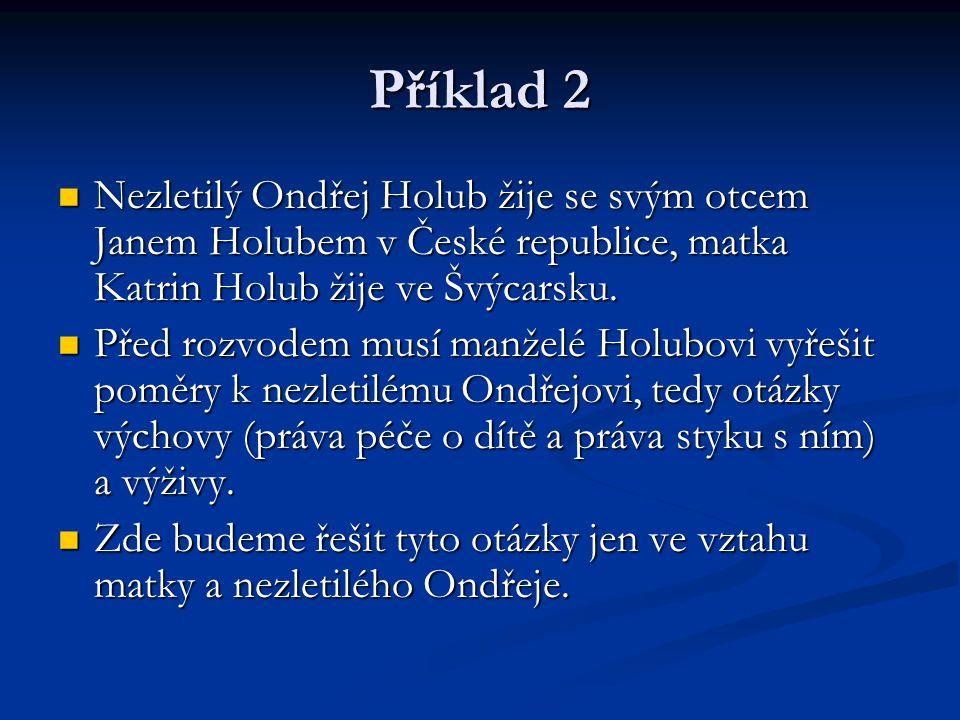 Příklad 2 Nezletilý Ondřej Holub žije se svým otcem Janem Holubem v České republice, matka Katrin Holub žije ve Švýcarsku.