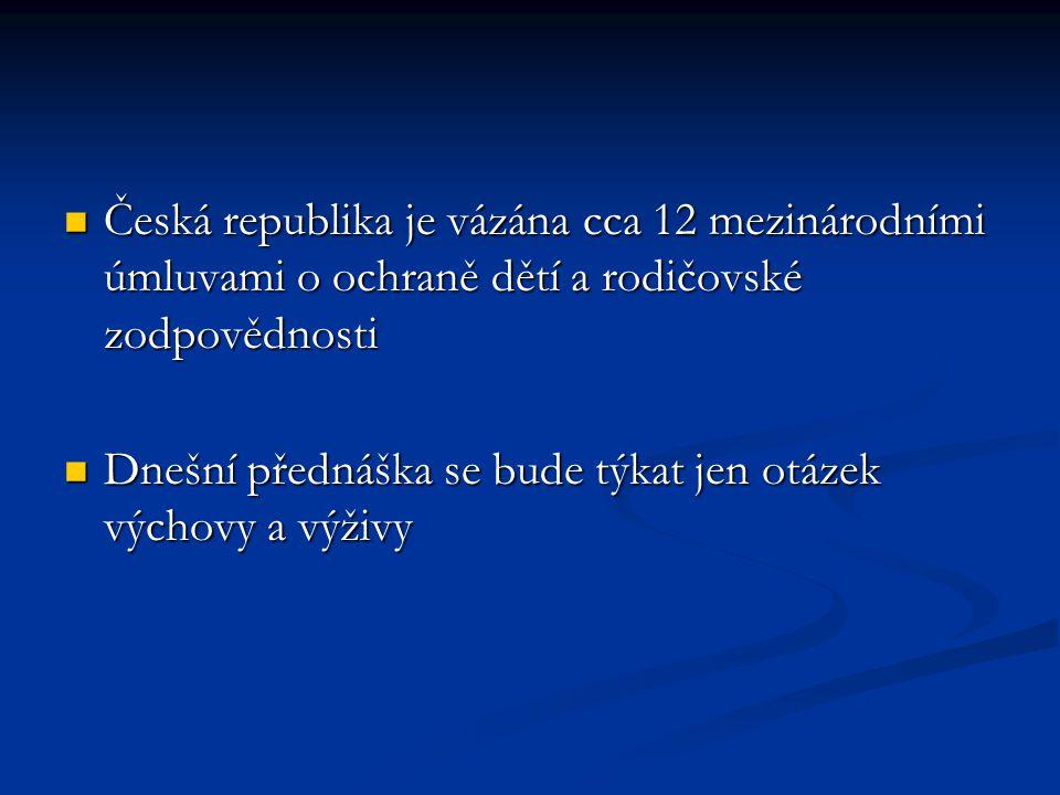 Česká republika je vázána cca 12 mezinárodními úmluvami o ochraně dětí a rodičovské zodpovědnosti