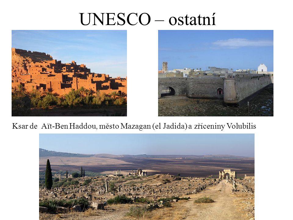 UNESCO – ostatní Ksar de Aït-Ben Haddou, město Mazagan (el Jadida) a zříceniny Volubilis
