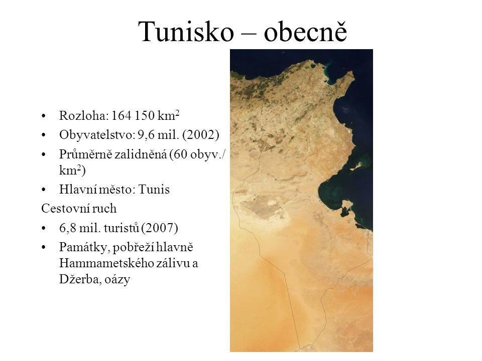 Tunisko – obecně Rozloha: 164 150 km2 Obyvatelstvo: 9,6 mil. (2002)