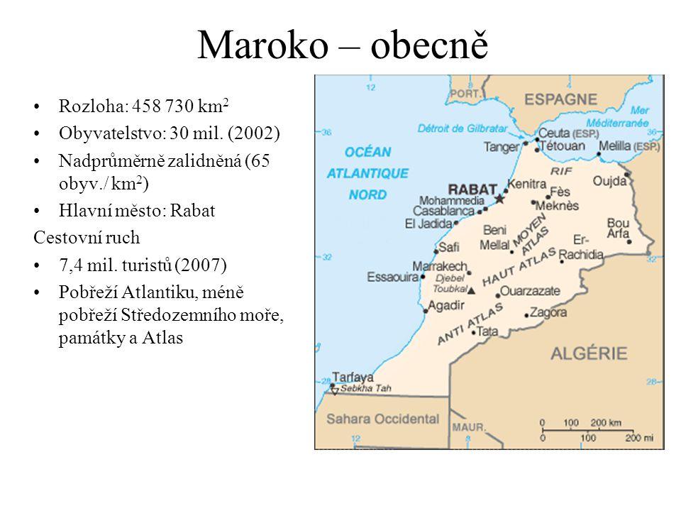 Maroko – obecně Rozloha: 458 730 km2 Obyvatelstvo: 30 mil. (2002)