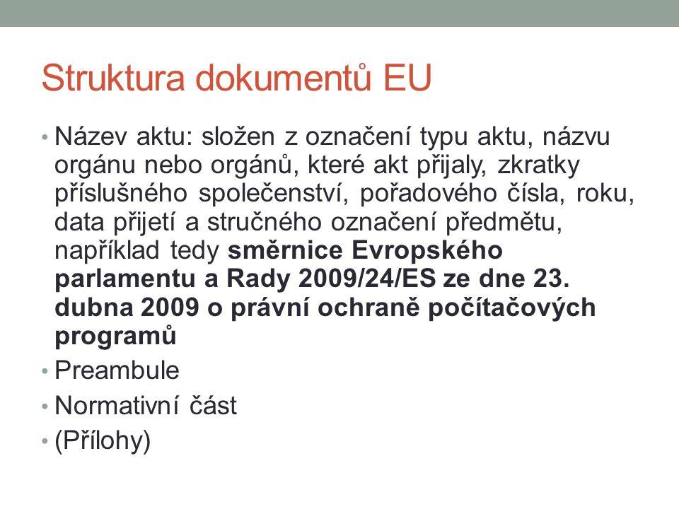 Struktura dokumentů EU