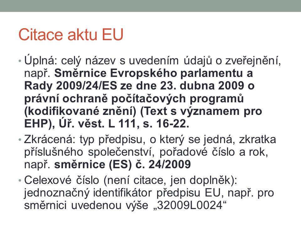 Citace aktu EU