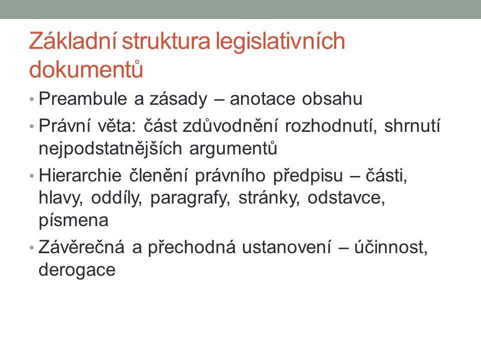 Základní struktura legislativních dokumentů