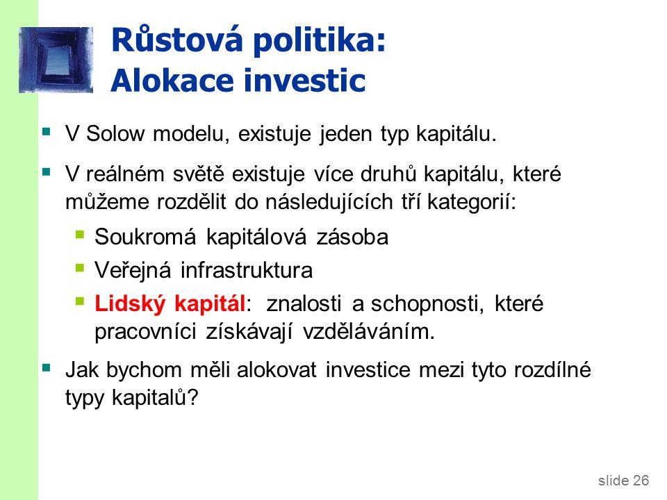 Růstová politika: Alokace investic