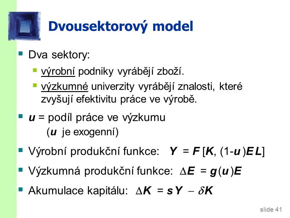 Dvousektorový model Ve stálém stavu, výrobní produkt na pracovníka a životní úroveň rostou tempem E/E = g (u ).