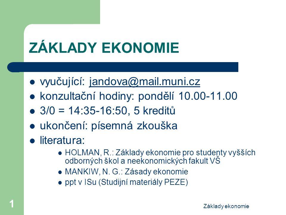 ZÁKLADY EKONOMIE vyučující: jandova@mail.muni.cz