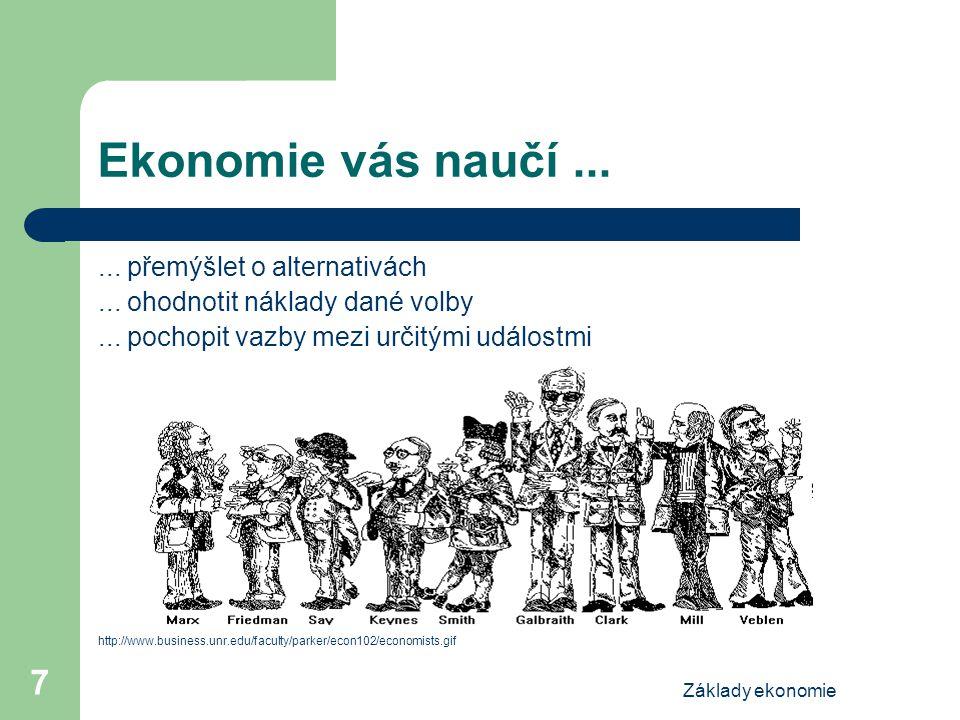 Ekonomie vás naučí ... ... přemýšlet o alternativách