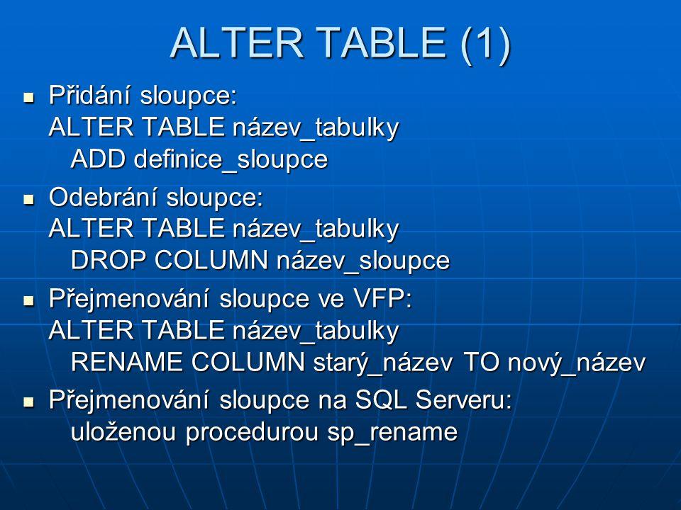 ALTER TABLE (1) Přidání sloupce: ALTER TABLE název_tabulky ADD definice_sloupce.