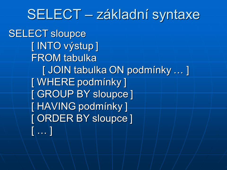 SELECT – základní syntaxe