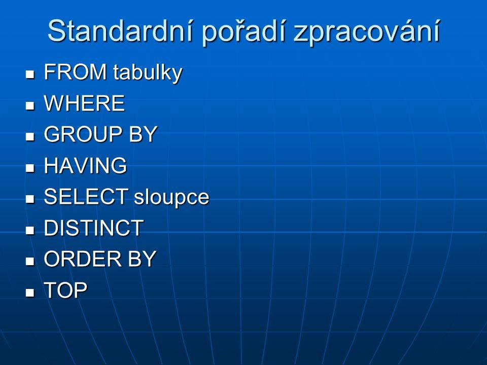 Standardní pořadí zpracování