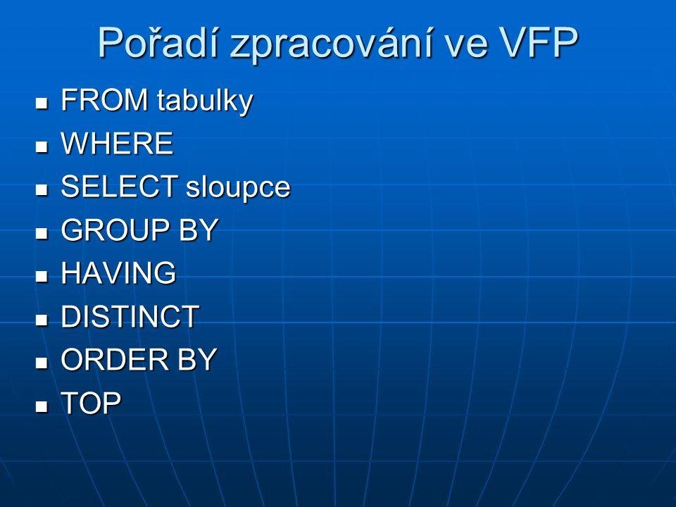 Pořadí zpracování ve VFP