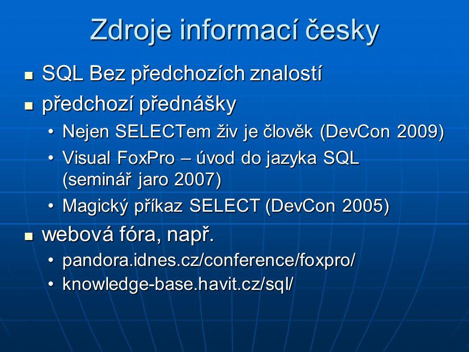 Zdroje informací česky