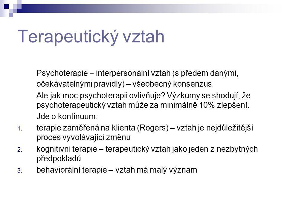 Terapeutický vztah Psychoterapie = interpersonální vztah (s předem danými, očekávatelnými pravidly) – všeobecný konsenzus.