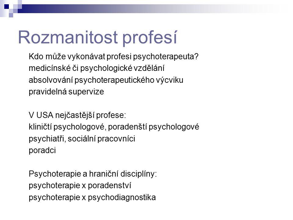 Rozmanitost profesí Kdo může vykonávat profesi psychoterapeuta