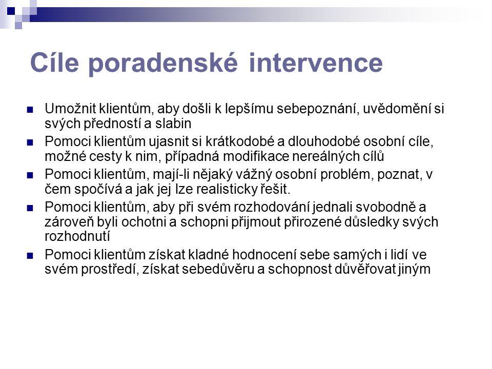 Cíle poradenské intervence