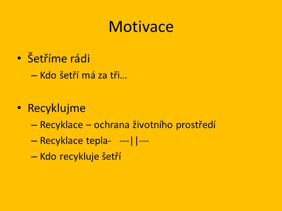 Motivace Šetříme rádi Recyklujme Kdo šetří má za tři…