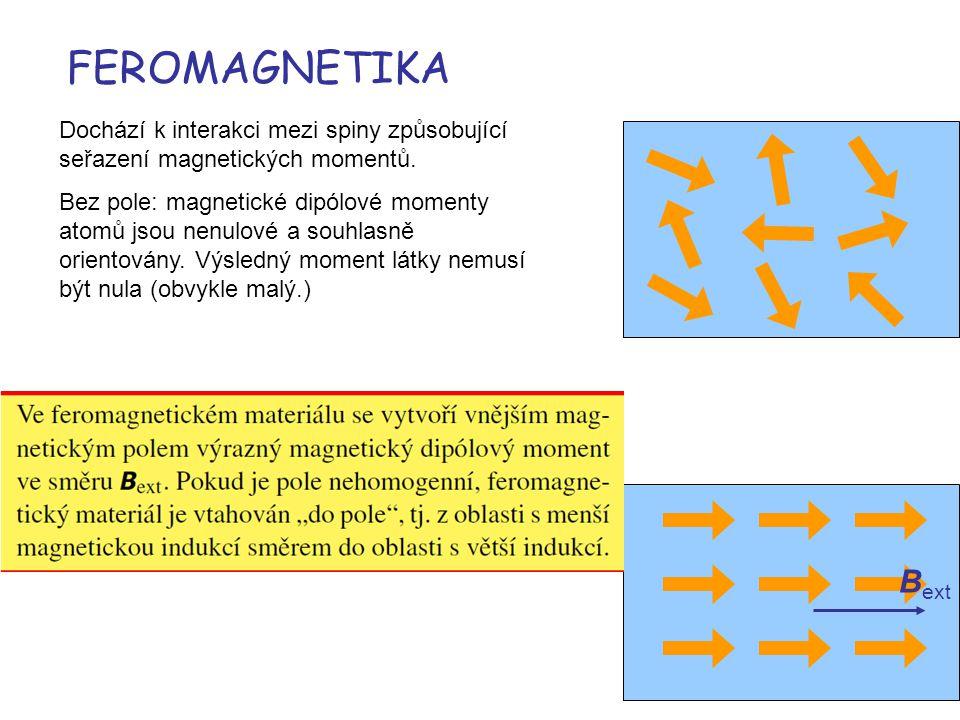 FEROMAGNETIKA Dochází k interakci mezi spiny způsobující seřazení magnetických momentů.