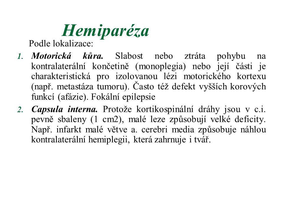 Hemiparéza Podle lokalizace: