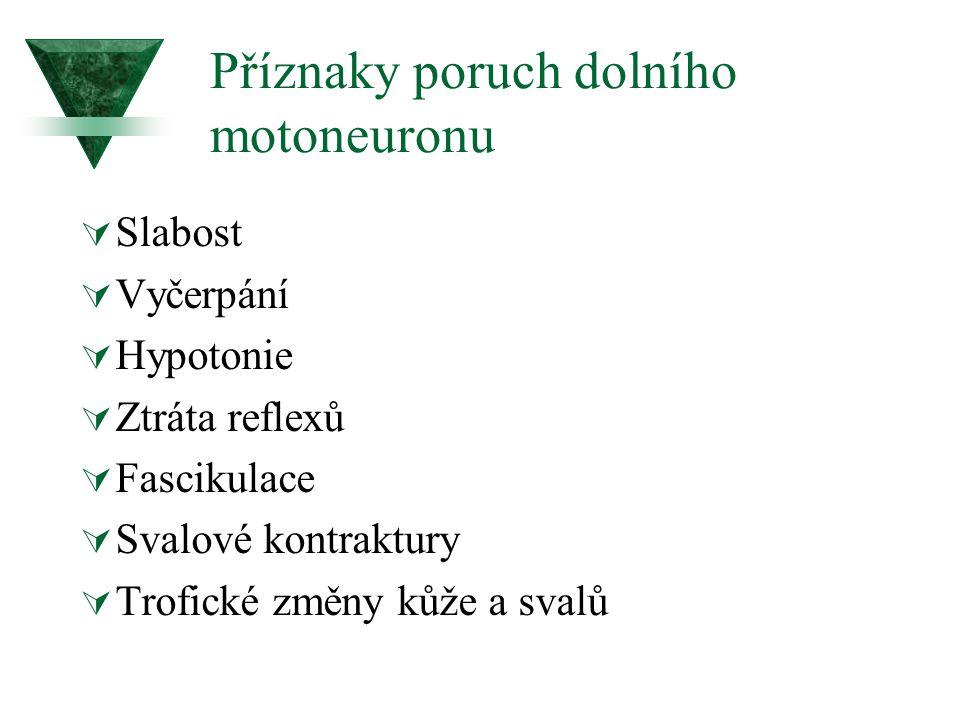 Příznaky poruch dolního motoneuronu