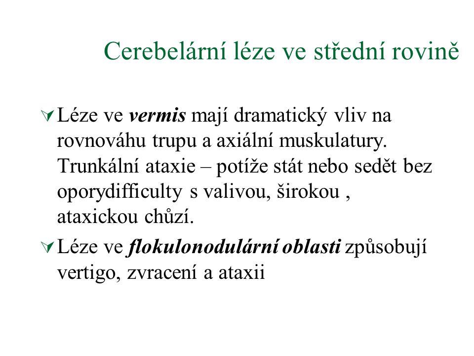 Cerebelární léze ve střední rovině