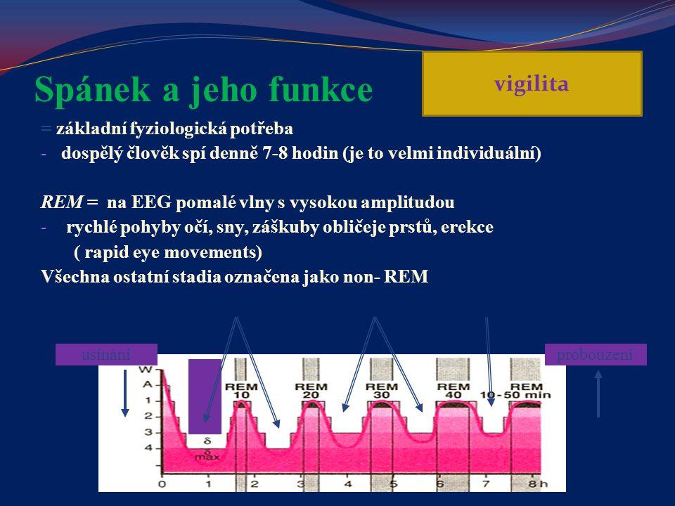 Spánek a jeho funkce vigilita = základní fyziologická potřeba
