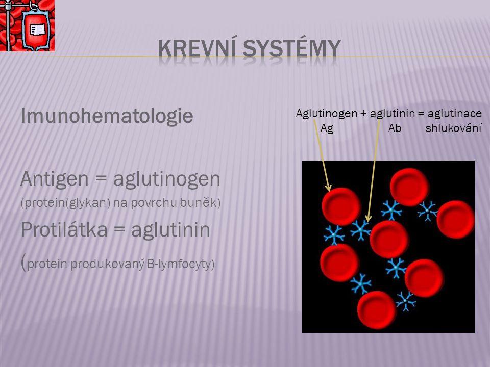 Krevní systémy Imunohematologie Antigen = aglutinogen