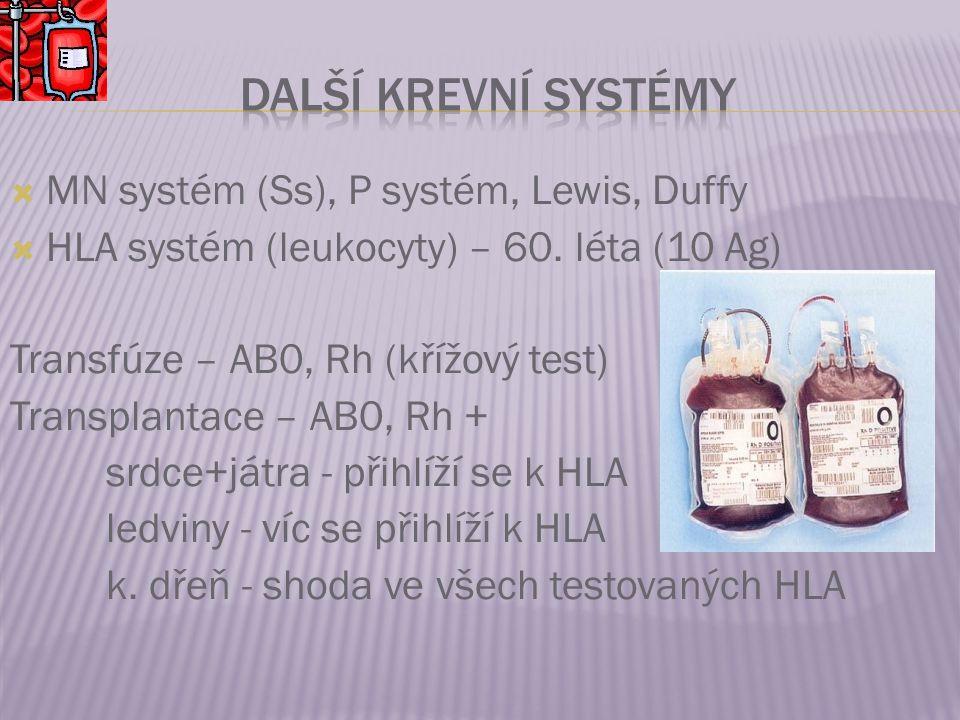 Další krevní systémy MN systém (Ss), P systém, Lewis, Duffy