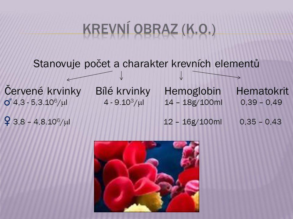 Krevní obraz (K.O.) Stanovuje počet a charakter krevních elementů