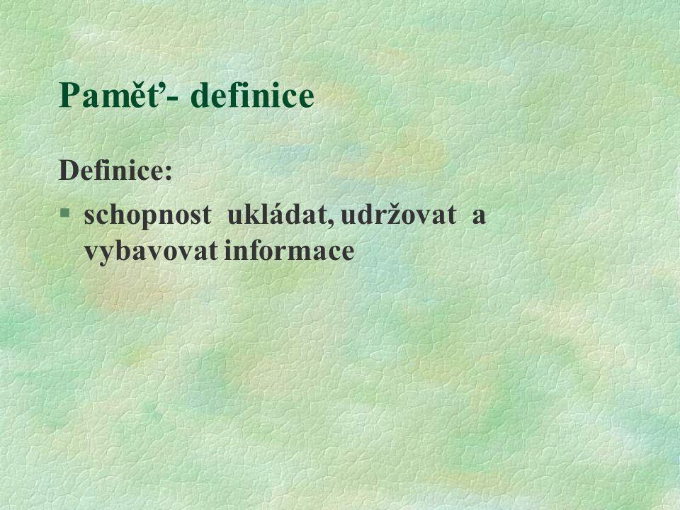 Paměť- definice Definice: