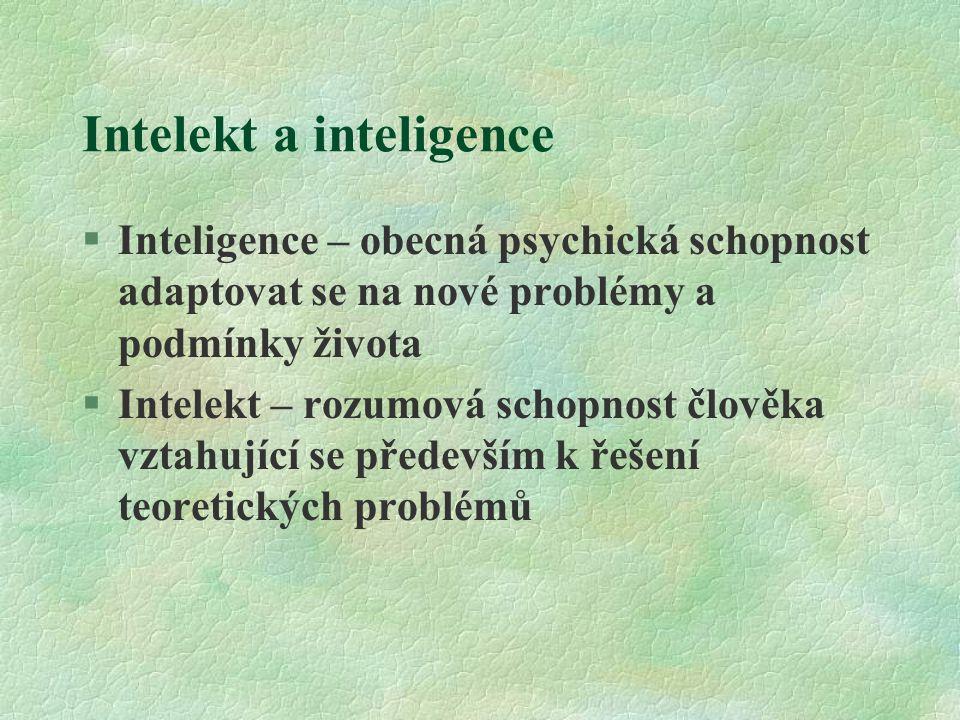 Intelekt a inteligence