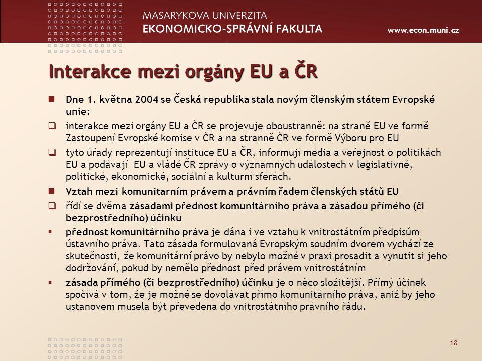 Interakce mezi orgány EU a ČR