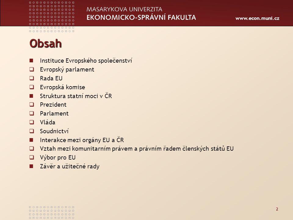 Obsah Instituce Evropského společenství Evropský parlament Rada EU