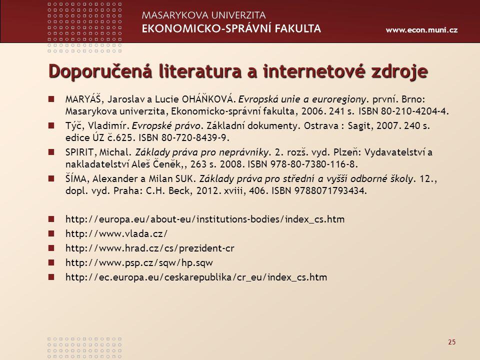 Doporučená literatura a internetové zdroje