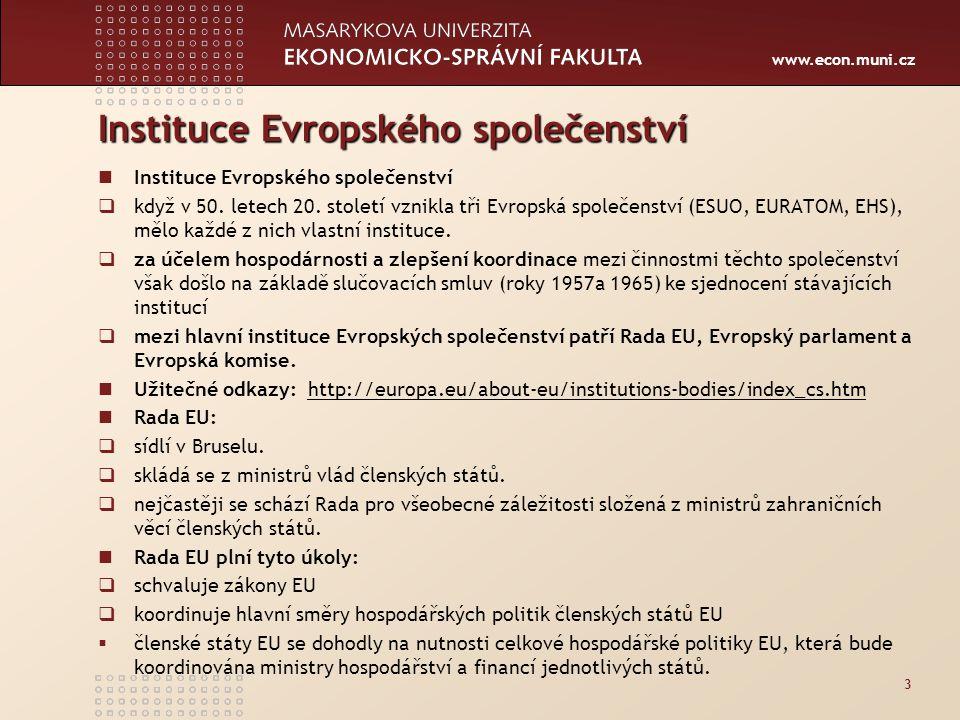 Instituce Evropského společenství