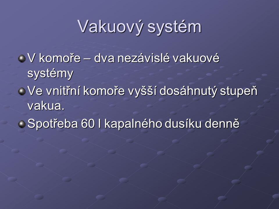Vakuový systém V komoře – dva nezávislé vakuové systémy