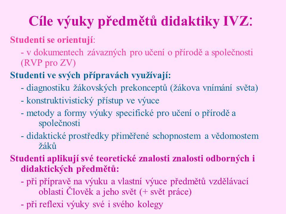 Cíle výuky předmětů didaktiky IVZ: