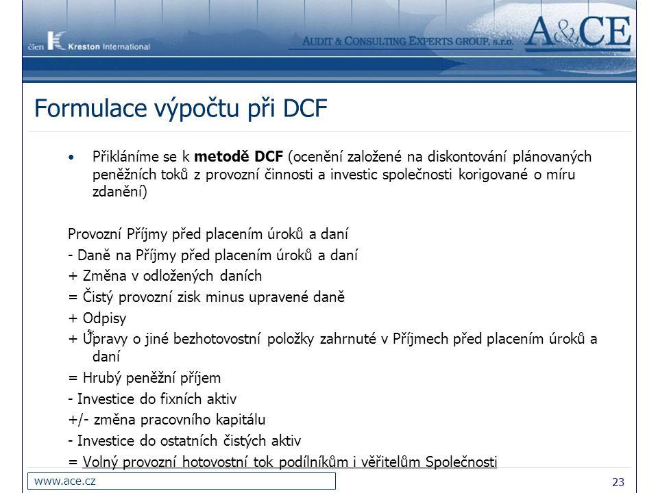 Formulace výpočtu při DCF