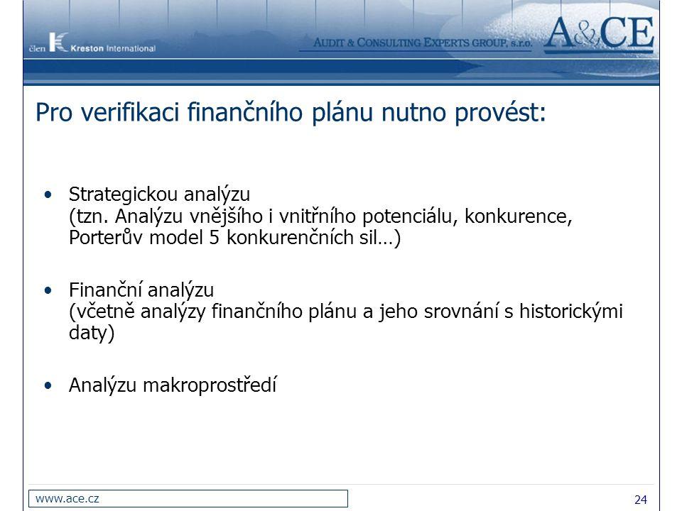 Pro verifikaci finančního plánu nutno provést: