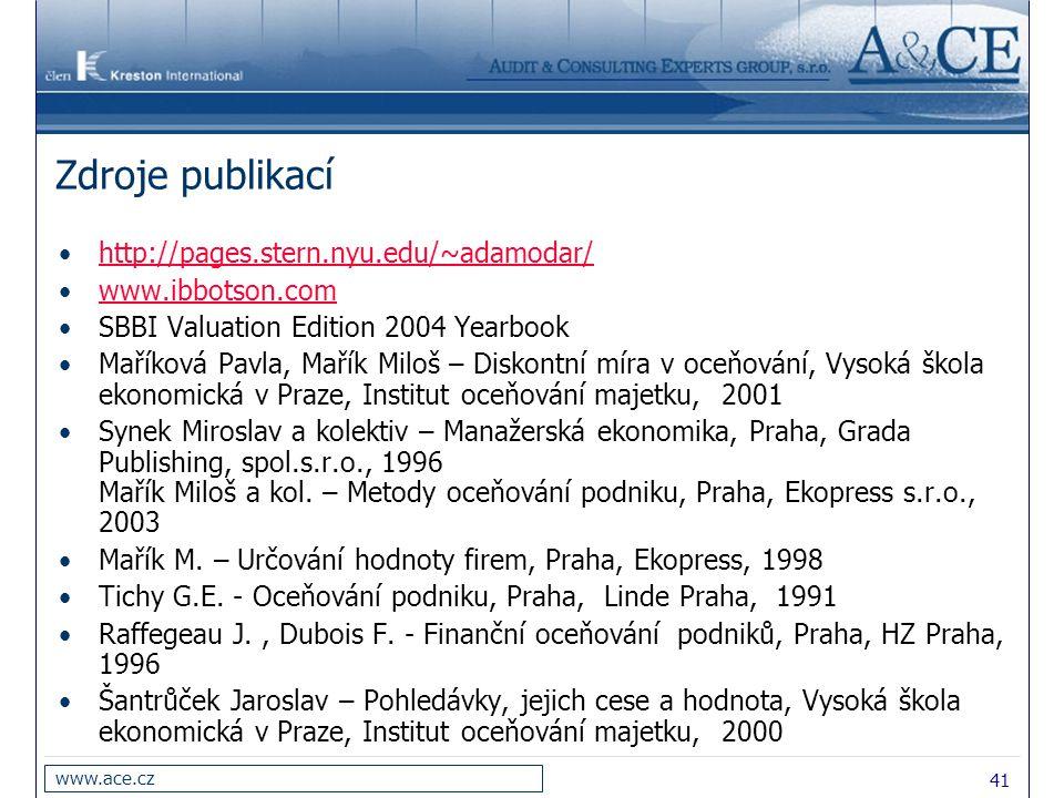 Zdroje publikací http://pages.stern.nyu.edu/~adamodar/