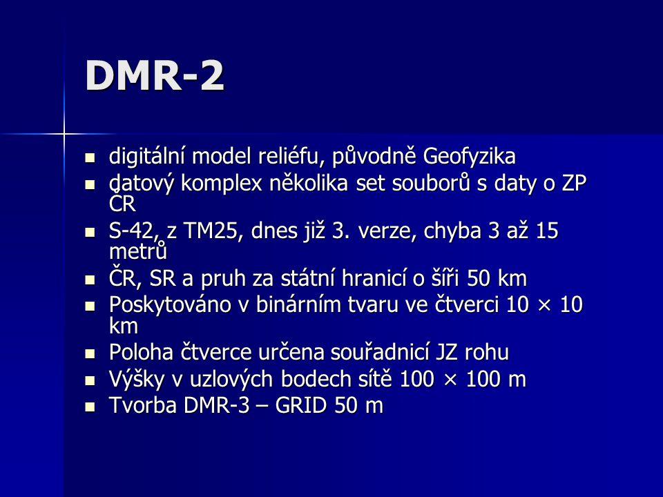 DMR-2 digitální model reliéfu, původně Geofyzika