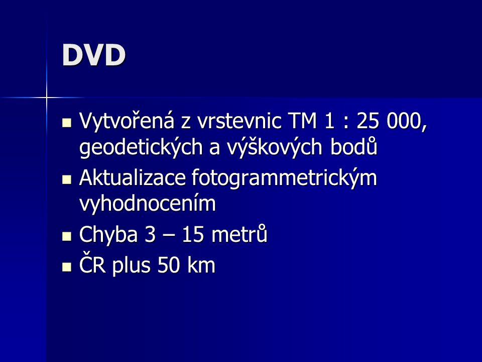 DVD Vytvořená z vrstevnic TM 1 : 25 000, geodetických a výškových bodů