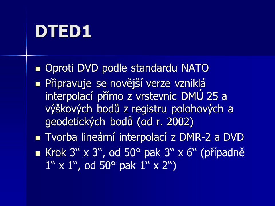 DTED1 Oproti DVD podle standardu NATO