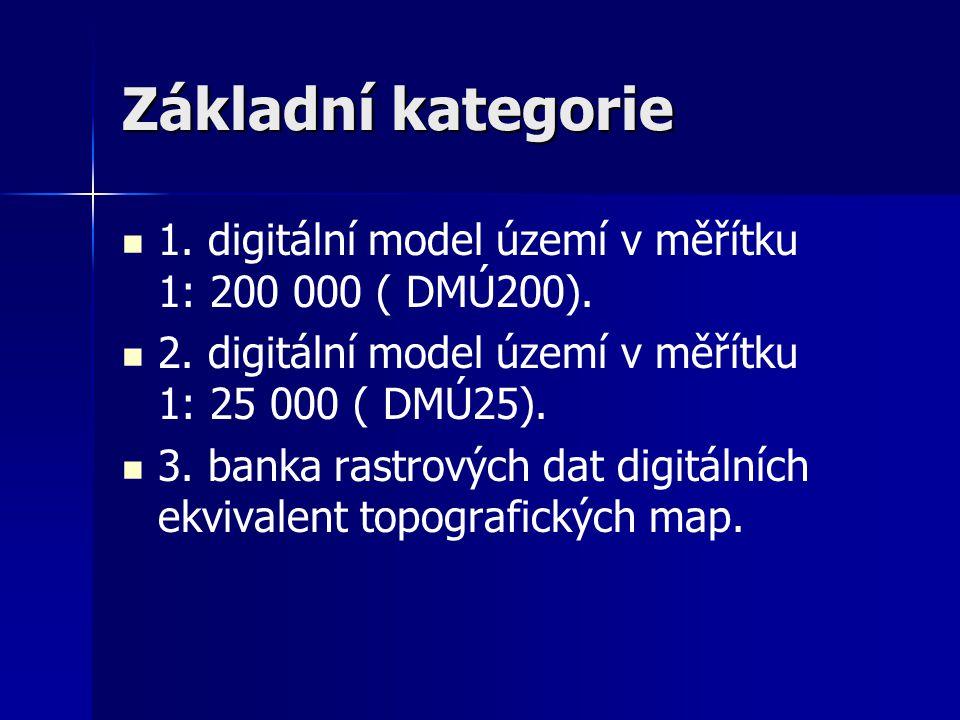 Základní kategorie 1. digitální model území v měřítku 1: 200 000 ( DMÚ200). 2. digitální model území v měřítku 1: 25 000 ( DMÚ25).