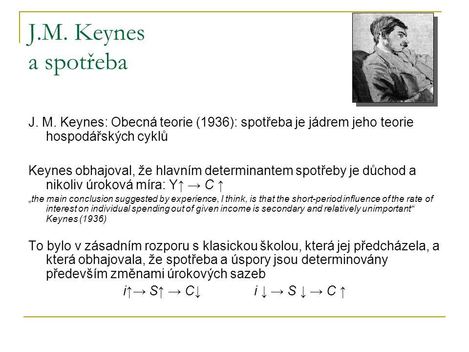 J.M. Keynes a spotřeba J. M. Keynes: Obecná teorie (1936): spotřeba je jádrem jeho teorie hospodářských cyklů.