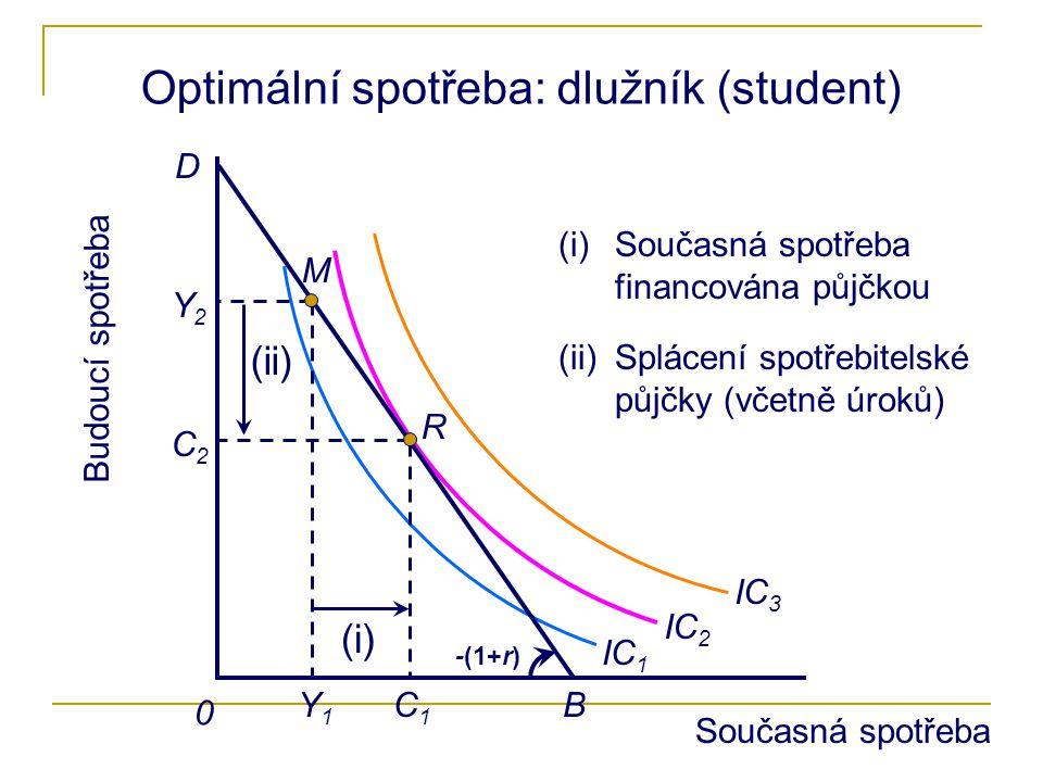 Optimální spotřeba: dlužník (student)