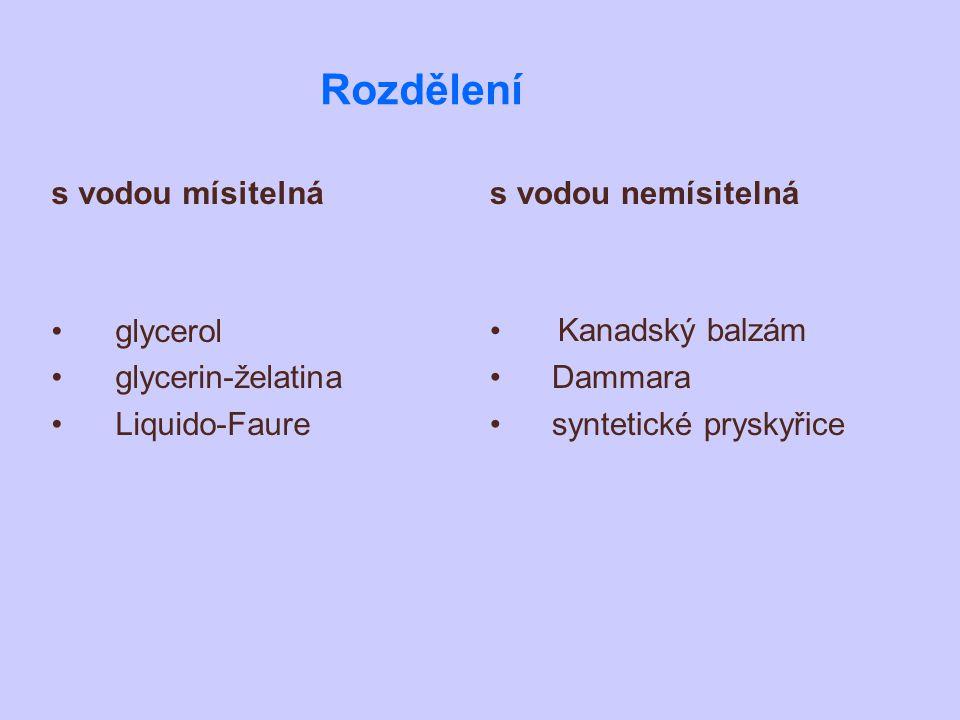 Rozdělení s vodou mísitelná glycerol glycerin-želatina Liquido-Faure
